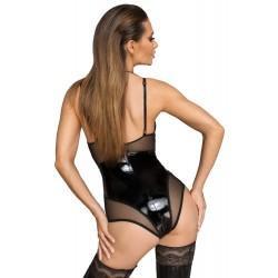 Body aus semitransparent gestreiftem Netzstoff und Lack