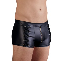 Pants im schwarzen Mattlook mit seitlichen Schnürungen