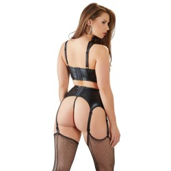 3-teiliges Strapsset im Wetlook mit Powernet