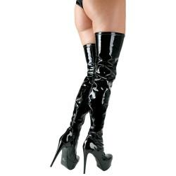High Heel Stiefel aus Lack, Overknee, 14 cm Absatzhöhe und leichtes Plateau