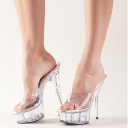 High Heel Pantolette, transparent mit buntem Glitzereffekt