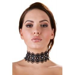 Halsband mit Stickerei, besetzt mit weißen Perlen und Strasssteinen