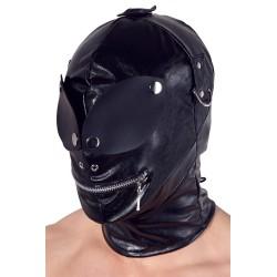 Kopfmaske aus Lederimitat, mit Reißverschluss über dem Mund